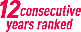 9consecutive years ranked