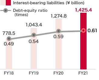 Interest-bearing liabilities and D/E ratio