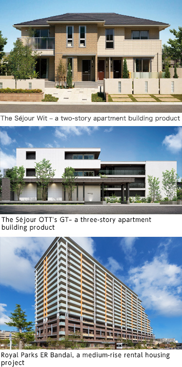 The Séjour Wit – a two-story apartment building product The Séjour OTT's α JT– a three-story apartment building product The Royal Parks Ogikubo, a medium-rise rental housing project
